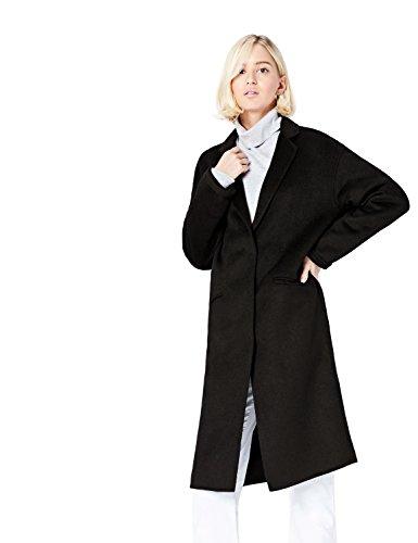 FIND Abrigo Midi de Corte Recto en Tela Ligera Mujer, Negro (Black), 38 (Talla del Fabricante: Small)