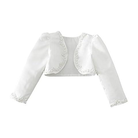 YiZYiF Kinder Mädchen Kommunionjacke Jacke Bolero Kommunion Jacken Schulterjacke zum Blumenmädchen Festlich Kleid Ivory-Weiß Gr. 92-140 (92-98 (Herstellergröße: 100), Elfenbein)