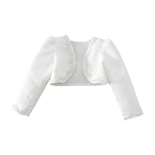 YiZYiF Kinder Mädchen Kommunionjacke Jacke Bolero Kommunion Jacken Schulterjacke zum Blumenmädchen Festlich Kleid Ivory-Weiß Gr. 92-140 (134-140 (Herstellergröße: 150), Elfenbein)