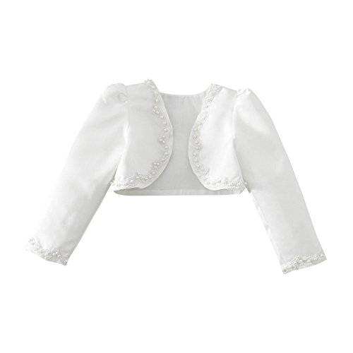 YiZYiF Kinder Mädchen Kommunionjacke Jacke Bolero Kommunion Jacken Schulterjacke zum Blumenmädchen...