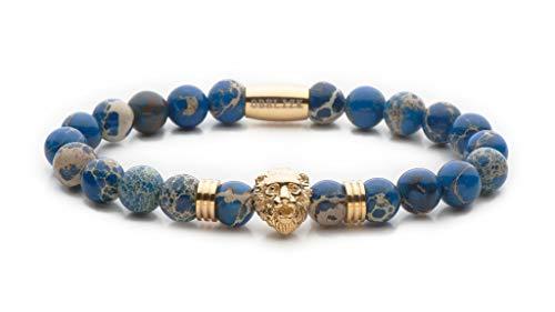 Obelizk Exklusiv Lion Armband für MännerGold | Löwenkopf Armband mit blauen Jaspis Perlen|Geschenk Schmuckbox+ Luxury Accessories Guide (Stein Für Blau Männer Gold Ring 14k)