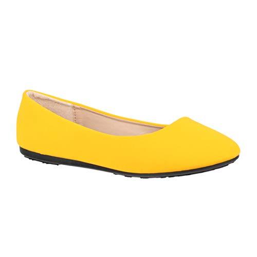 Elara Damen Ballerinas   Bequeme Slip-Ons   Flache Freizeitschuhe   chunkyrayan DY-07-Yellow-39 -