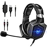 onikuma Gaming Headset Stereo PS4Headset mit flexiblem 360° Mikrofon Surround Sound Over-Ear Xbox One Headset mit Noise Can