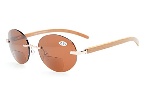 Eyekepper Federscharniere Wood Arms Randlos Rund Bifocal Sonnenbrillen Gold/Braun Linse +1.5