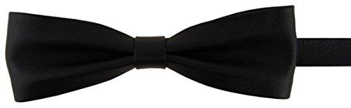 vorgebundene schmale TigerTie Lederfliege Schleife in schwarz Einfarbig Uni - Fliege 100% Lammnappa-Leder + Aufbewahrungsbox (Fliegen-behandlung)
