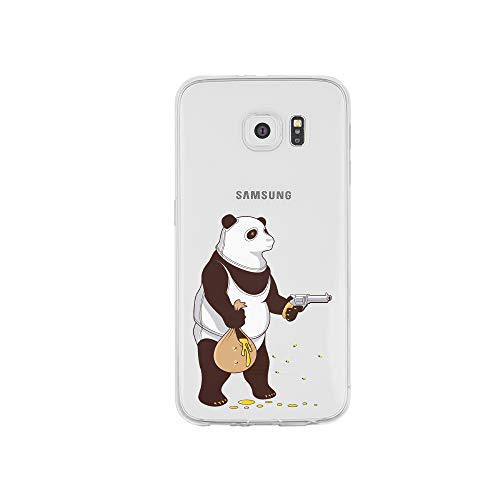 licaso S6 Edge S6e Handyhülle TPU mit Panda klaut Honig Print Motiv - Transparent Cover Schutz Hülle Aufdruck Lustig Funny Druck