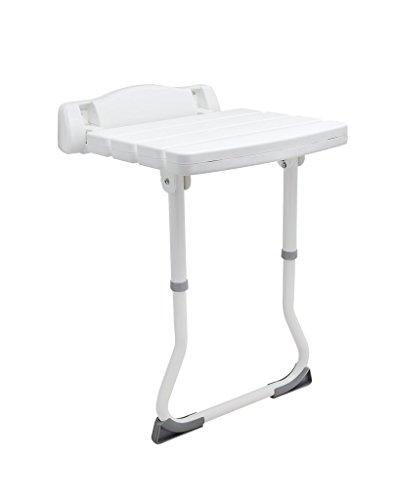 Duschklappsitz Deluxe mit STÜTZBEIN Sicherheitssitz Wandstuhl Klappstuhl Duschhilfe Sitzhilfe zur Wandmontage, weiß