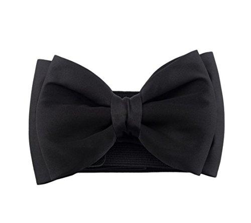 Fablcrew - Cinturón elástico ancho con lazo, en color negro, para mujer