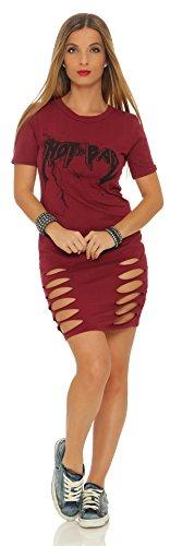 Mr. Shine Damen Longshirt Tunika Minikleider Sommerkleid Lässige Kleidung mit Aufdruck Slim S-XXXL Bordo