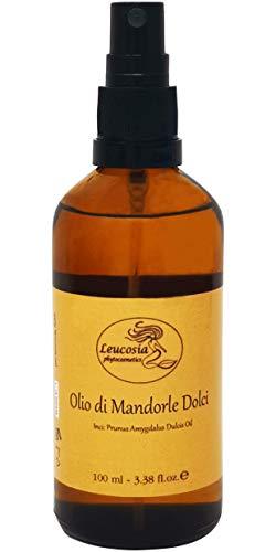 Olio di Mandorle Dolci Puro al 100% - 100 ml - Ideale come emolliente e lenitivo per le pelli delicate. Nutriente per i capelli. Azione elasticizzante contro le smagliature.