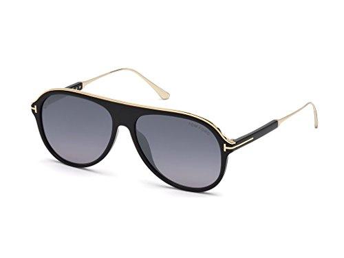 Tom Ford Unisex-Erwachsene FT0624 01C 57 Sonnenbrille, Schwarz (Nero Lucido/Fumo Specchiato),