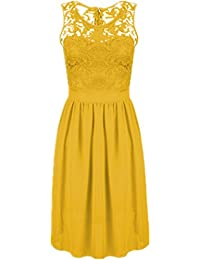 Bestfort Damen Kleid Dress Sommer Rock Rundhals Solid Farbe Ärmellos  Spitzenkleid Chiffonrock Kleid Stitching… 68bbf18204
