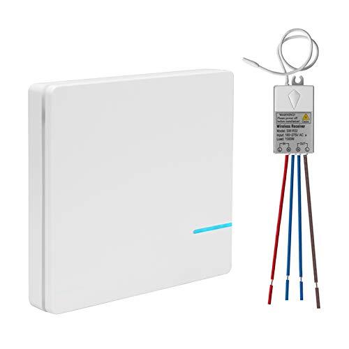Wireless Funk Lichtschalter mit Sender Empfänger Kit, Außen 600 Meter, Drinnen 40 Meter Ferngesteuert led anzeige Haus Büro Hotel Fabrik Deckenleuchte LED Lampe Beleuchtung