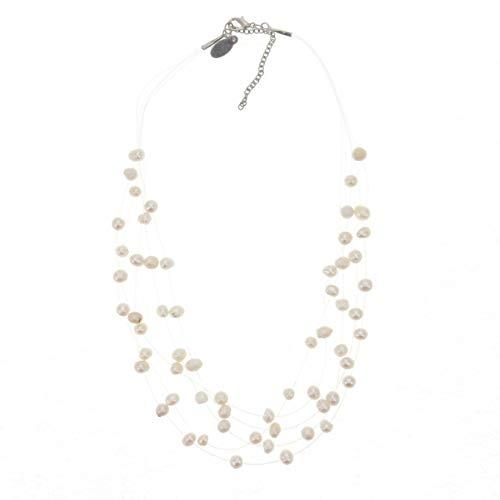 Behave Wunderschöne mehrreihige Süßwasserperle Perlenkette Damen - Elegante perlen Halskette mit Weiße Creme farbig Zuchtperlen für Frauen - Gute Geschenkidee