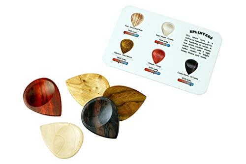 Wooden Guitar Picks - Splinters by Bison Boa - Exotic Multi-Tone 5 Pack
