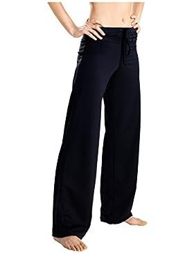 Damen Sporthose Jogginghose ideale Fitnesshose und Freizeithose lang mit breitem elastischem Gummibund in schwarz...