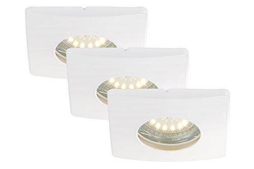 LED Einbauleuchten, Einbaustrahler, Einbauspots, 3-er Set, LED GU10, 4 Watt, 330 Lumen, schwenkbar, IP44, Badezimmer / Bad geeignet, weiß