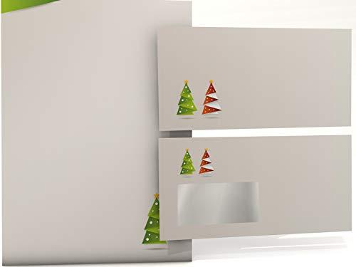 Weihnachts-Briefpapier Set Weihnachts-Origami grün, 50 Blatt Motivpapier A4 und 50 Briefumschläge OHNE FENSTER
