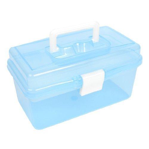 double-couche-support-hardware-tools-boite-de-rangement-bleu-transparent