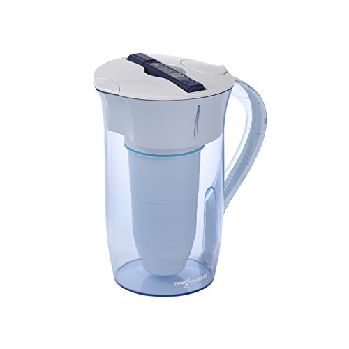 ZeroWater 10 Cup Ready-Pour - Wasserfilterkanne / Tischwasserfilter mit gratis TDS Messgerät - Wasserfilter-Krug mit Filter / Filterkanne | Kunststoff | 2,4 Liter - ZR-0810-4 -