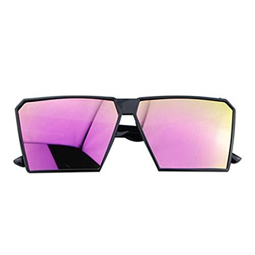 Timlatte Große Rahmen Retro-Sonnenbrille Retro-Platz Brillen Männer Jungen Frauen Mädchen Brillen Street UV400 Helles schwarzes Lila one Size