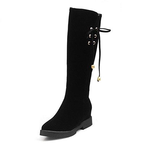 VogueZone009 Donna Cerniera Scarpe A Punta Tacco Medio Alta Altezza Stivali con Metallo Nero