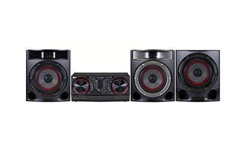 LG CJ45Home Audio MIDI System schwarz, rot Audio-System für Zuhause Kompaktanlage (Home Audio MIDI System, schwarz, rot, Einfarbig, 1Disks, Vorderseite, 3Ohm) Lg Home-cinema-systeme