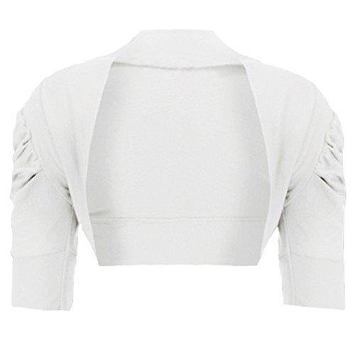 RageIt - Mädchen Strickjacke Bolero Rüschenärmel Kurz Baumwolle - 7-8 Jahre, Weiß