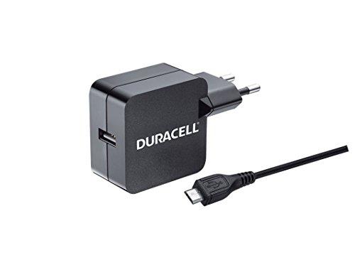 Duracell 2.4A Netzteil Netzladegerät Reise-Ladegerät mit 1 Meter Micro USB Ladekabel und 2-pin EU-Netzstecker - Schwarz