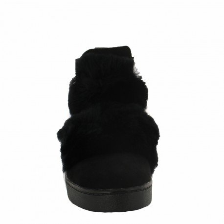 Ideal Shoes - Bottines style chelsea effet daim avec fourrure Pierrette Noir