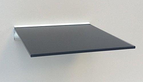Schwarzes Quadrat-regal (Glasregal Quadrat 30x30 cm schwarzes Glas mit Alu Profil Wandregal Board)