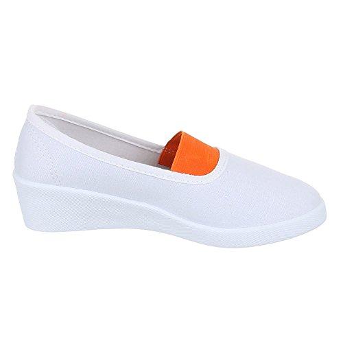 Damen Schuhe, 2015-12, HALBSCHUHE SLIPPER KEILABSATZ Weiß Orange