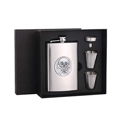 Kehuitong Flask, 304 Edelstahl mit Trichter und 2 Tassen, 8 Unzen, 100% auslaufsicher (Color : Hip Flask Gift Set) (Unzen Tassen 2)