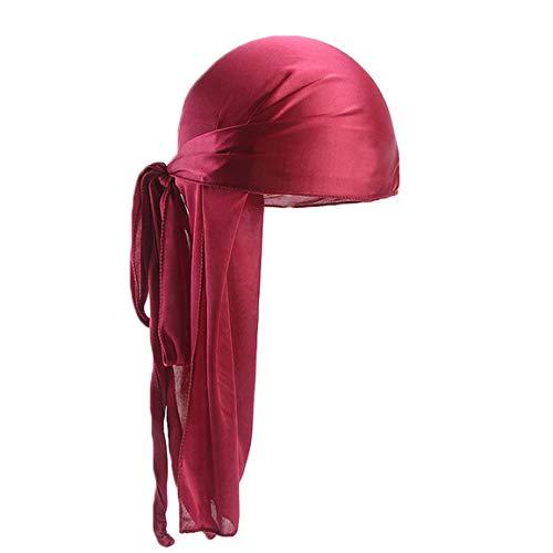 Kopfkappe Unisex Hut Männer Frauen Silk Polyester Bandana Hut Durag Rag Tail Headwrap Lila Headwear Geschenk Spring Moonuy
