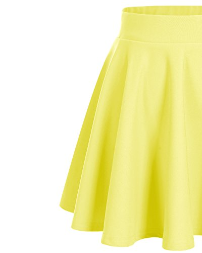 Bridesmay Damen Mini Rock Basic Solid vielseitige dehnbaren informell  Minikleid Retro Sexy Rock Faltenrock Yellow 2f3fd46267