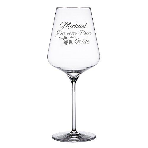 AMAVEL Rotweinglas – Weinglas mit Gravur – Der beste Papa der Welt – Personalisiert mit...