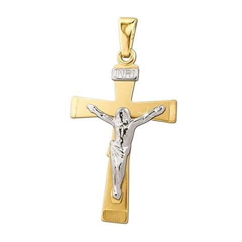 CLEVER SCHMUCK Goldener Anhänger 22 mm Jesus Kreuz flach mit INRI bicolor, teils weiß rhodiniert matt und glänzend kombiniert 333 GOLD 8 KARAT im Etui
