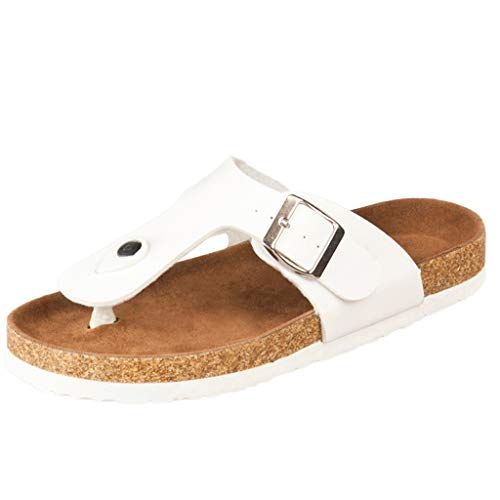 Damen Slippers Flip Flops Kork Hausschuhe Schnalle Strand Anti-Rutsch-Schuhe Post Hausschuhe Zolimx -