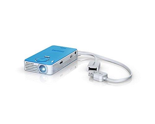 Philips Pico Pix 4150 LED-Projektor (HDMI, Kontrast: 1300:1, 640x480 Pixel, 50 ANSI Lumen, HDMI, USB) blau