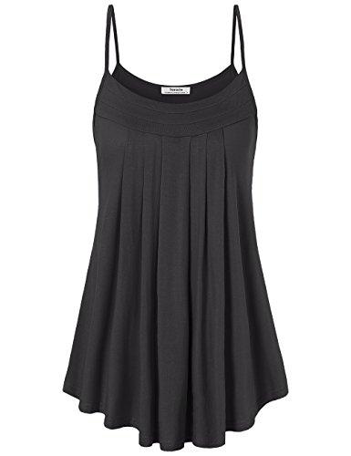 Ärmellose Damen-Shirts, Youtalia Unifarbiges Camisole Tanktop mit schmalen Trägern, plissiert mit Rundhalsausschnitt Farbe: Schwarz Größe: X-Large (Shirt Top Camisole)