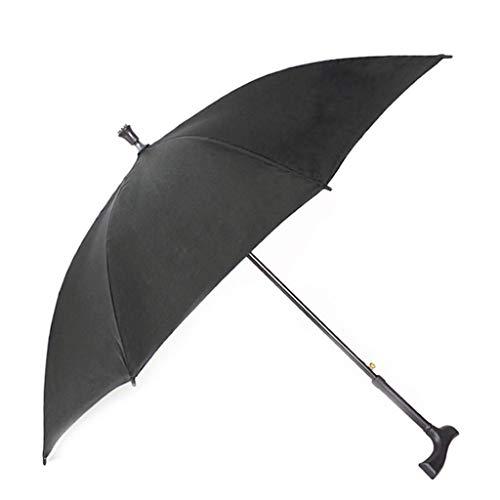 8-Rippen-Regenschirm Doppel-Personenreisefaser-Griff, Lange gerade Stange Kompakter Regenschirm für Regenfälle, kann als Krücken verwendet Werden Anti-Rutsch- und haltbar, schwarz - Hüte 2 1 Größe Ausgestattet 8