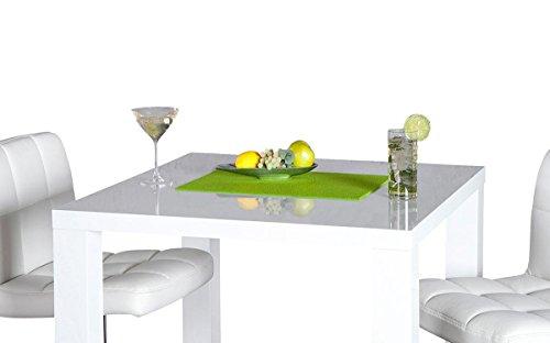 levandeo Bar-Tisch Tresen Küchentisch Weiß Hochglanz Stehtisch Bartresen Esstisch Ablage Küche 105x80x80cm - 4