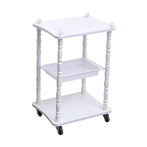 ADWN Weiß 3 Schicht-Schönheits-Ausrüstungs-Laufkatze-kleine Luftblasen-spezieller Wagen-Wasser-Licht-Haut-Management-Speicher-Klammer Beweglicher Schönheits-Salon-Tischplattenwagen -
