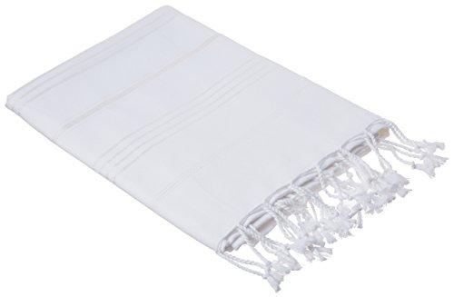 Bersuse 100% cotone - asciugamano turco anatolia - peshtemal fouta per bagno e spiaggia - pestemal classico striato - 95 x 175 cm, bianco