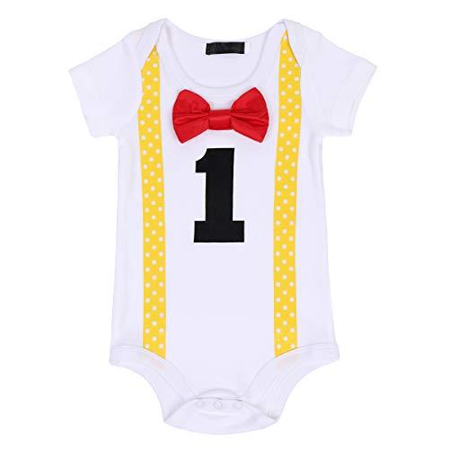 FYMNSI Kleinkinder Baby Jungen 1. Erster Geburtstag Bodys Gentleman Kostüm Fliege Strampler Einteiler Bodysuit Sommer Kurzarm T Shirt Overall 1 Jahr Party Baumwolle Babykleidung Gelb + Rot (Kostüme Suit Body)