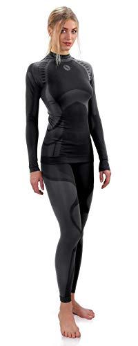 Sesto Senso® Donna Intimo Termico Impostato Maglia a Maniche Lunghe T-Shirt Funzionale e Pantaloni Lunghi Funzionale Sottopantaloni Leggings Biancheria Intima Set Termoattivo (M, Grigio)
