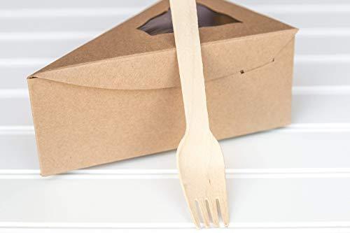 12Kraft braun Individuelle Pie Slice Karton mit 25Holz Gabeln (Pie Box Holz)