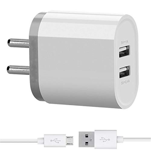 Mobile Charger Dual Port for HTC Desire 700 dual sim Charger Original Adapter Like Mobile Charger | Power Adapter | Wall Charger | Fast Charger | Android Smartphone Charger | Battery Charger | Hi Speed Travel Charger With 1 Meter Micro USB Charging Data Cable ( 2 Amp Dual Port-White )