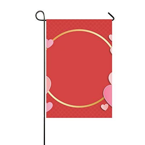 JOCHUAN Wohnkultur Schöne Papier Herzen Copyspace Valentines Garten Flaghouse Yard Flaggarden Yard Decorationsseasonal Willkommen Outdoor Flagge 12X18 Zoll (Valentine Klassenzimmer Dekorationen)