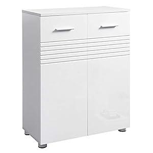 VASAGLE Badezimmerschrank, Doppeltür-Badschrank, Beistellschrank mit verstellbaren Ablagen, für Badezimmer, Küche oder Flur, mit Scharnierdämpfung und Nivellierfüßen, 60 x 30 x 80 cm, weiß BBK41WT